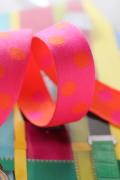 ドイツ・スペシャルリボン・リバーシブルDots*Orang&Pink * 28ミリ幅