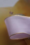 フランス製ワイヤーリボン・ゴールドエッジ ラベンダー 40ミリ幅