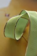 フランス製ワイヤーリボン・ゴールドエッジ フレンチグリーン 15ミリ幅