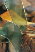 フランス製ワイヤーリボン・Gold edgeオーガンジー Green 38ミリ幅