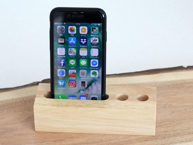 木製スマホスタンドペン立て付