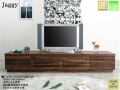【35cm高、高品質ローTVボード】「ジャギー」2000TV両引出タイプ オーク・サクラ無垢表面材・突板、国内最高環境安全基準F4素材仕様、天然オイル塗装の200cm幅・35cm高、職人技が光るローTVボードです。画像は、ウォールナットです。