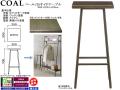 【木質とアイアンのコンビ】「コール」35サイドテーブル 35cm角・DBR色ウレタン塗装オーク突板天板&黒色焼付塗装アイアンフレーム脚のシンプル&モダンスタイルの70cm高サイドテーブルです。