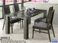 【UV塗装テーブルと椅子4脚の組合せ】「セーヌ3」ダイニング5点セット 135cm幅白木目(黒檀)柄ハイグロス・UV塗装天板の綺麗なテーブルとスタイリッシュな93cm高背張ハイバックチェア4脚の組合せ