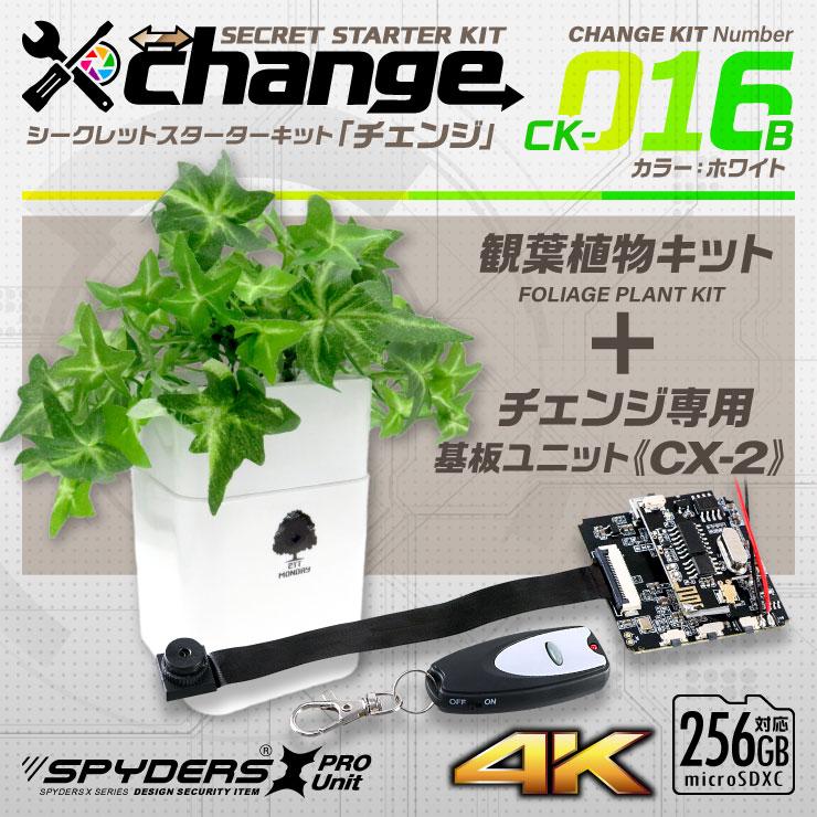 スパイダーズX change 4K 小型カメラ 自作キット 観葉植物 ホワイト 防犯カメラ スパイカメラ CK-016B