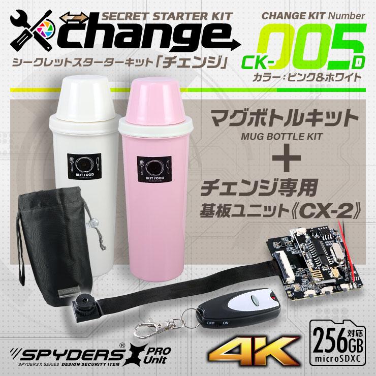 スパイダーズX change 小型カメラ マグボトル ピンク&ホワイト  CK-005D