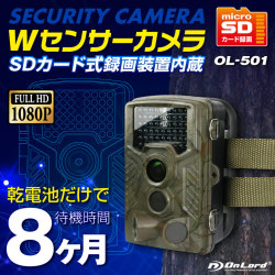 SDカード防犯カメラ 屋外 録画装置内蔵 防塵防水 Wセンサーカメラ (OL-501)