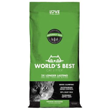 [ワールドベストキャットリター(猫砂)] クランピングフォーミュラ 3kg/6kg 1頭飼育向け/無香/トイレに流せる/ナチュラル原料で安心・安全