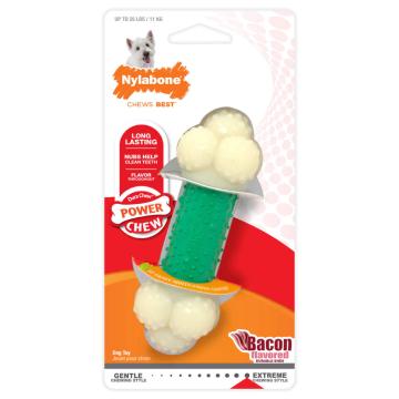 [Nylabone:ナイラボーン] パワーチューイ ダブルアクション S/M/Lサイズ ベーコンフレーバー 犬用おもちゃ 噛む力が強い・噛むことが好きな愛犬に