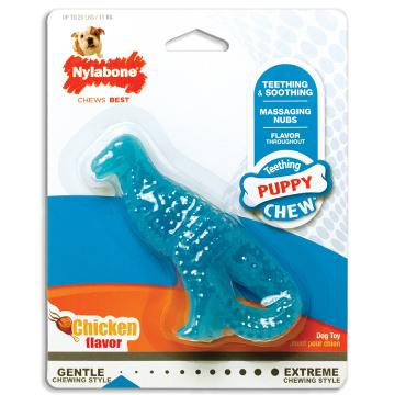 [Nylabone:ナイラボーン]  パピーデンタル 恐竜型 チキンフレーバー 永久歯のはえかわり時期に 犬用おもちゃ