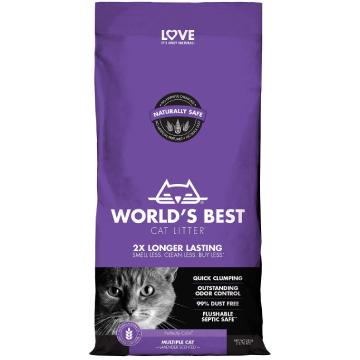 [ワールドベストキャットリター(猫砂)] マルチプルキャット ラベンダーの香り 3kg/6kg 多頭飼育向け/トイレに流せる/ナチュラル原料で安心・安全
