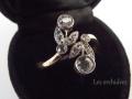 フランスアンティーク花のトワエモアリング18金ダイアモンド