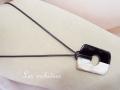 パリのバッファローホーン ペンダント 長方形 ブラック×ホワイト