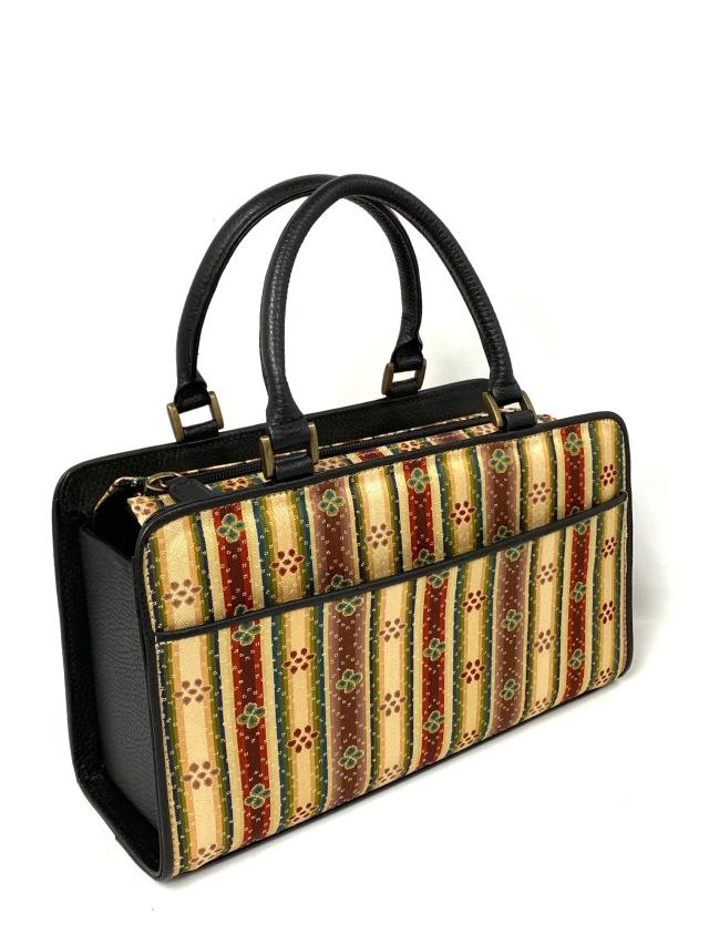 アウトレット価格 限定1個 龍村美術織物裂地使用 No.657B ボックス手提げバッグ