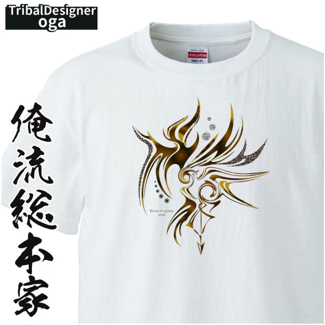 トライバルデザインTシャツ oga:ベベルのシャドウ【トライバル デザイン Tシャツ 大きいサイズ プレゼント tシャツブランド メンズ 白】