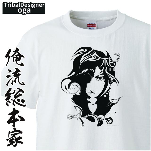 トライバルデザインTシャツ oga:想_02【トライバル デザイン Tシャツ 大きいサイズ プレゼント tシャツブランド メンズ 白】