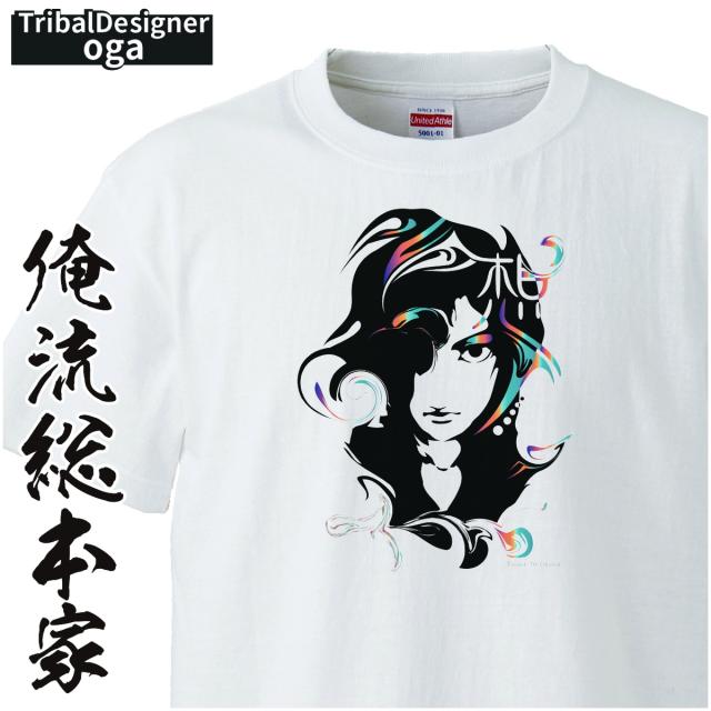トライバルデザインTシャツ oga:想_01【トライバル デザイン Tシャツ 大きいサイズ プレゼント tシャツブランド メンズ 白】