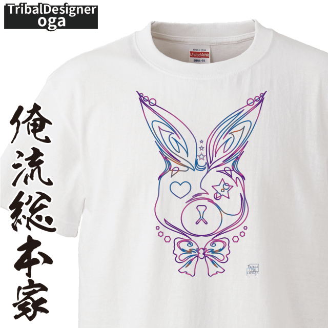 トライバルデザインTシャツ oga:USAGI_ピンスト風【トライバル デザイン Tシャツ 大きいサイズ プレゼント tシャツブランド メンズ 白】