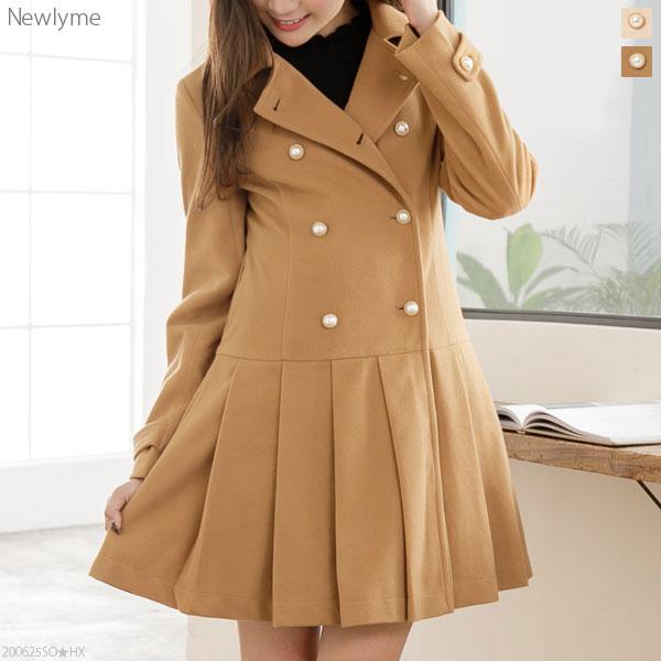 Mary Rose 裾プリーツフェイクウールコート