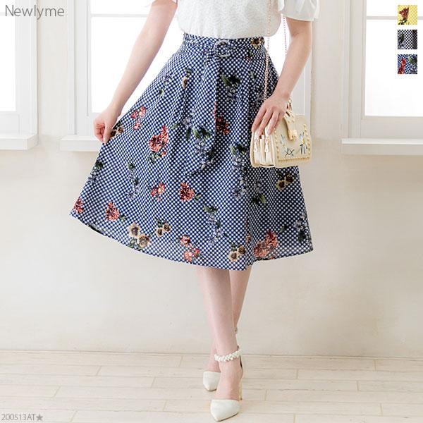 Mary Rose 花柄×ギンガムチェックひざ丈フレアスカート
