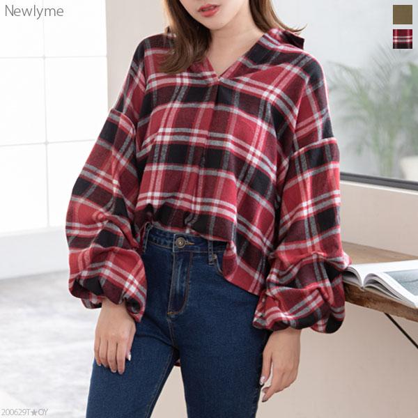 New lyme ボリューム袖タックスキッパーシャツ