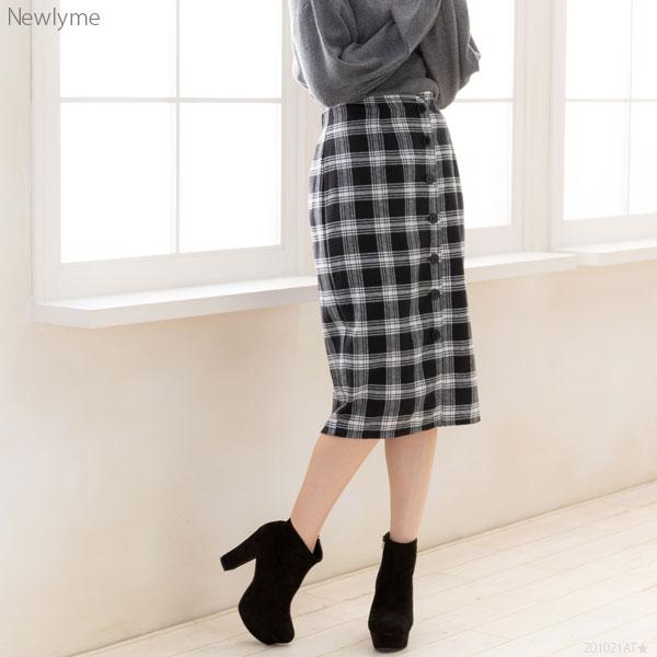 New lyme フロントボタンチェックタイトナロースカート