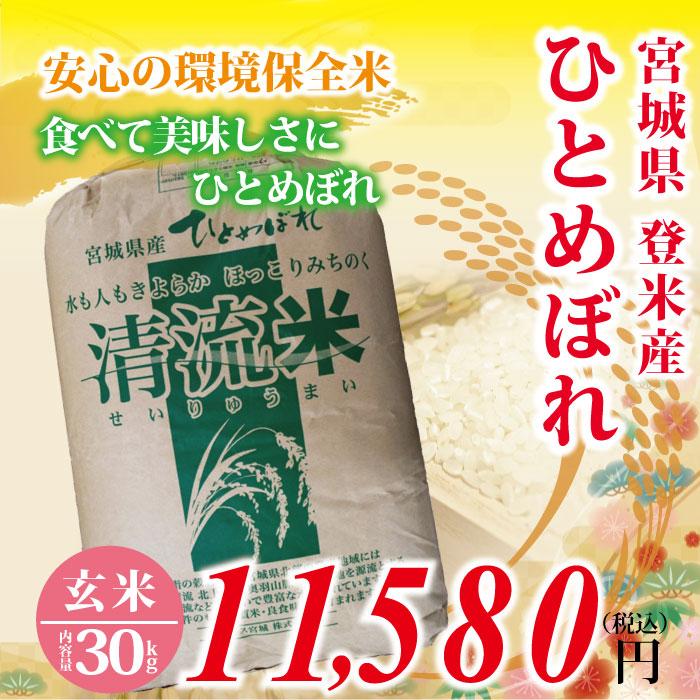 令和元年度 宮城県登米産 ひとめぼれ 玄米 : 30kg 2等米 環境保全米! 食味鑑定士のお墨付き!