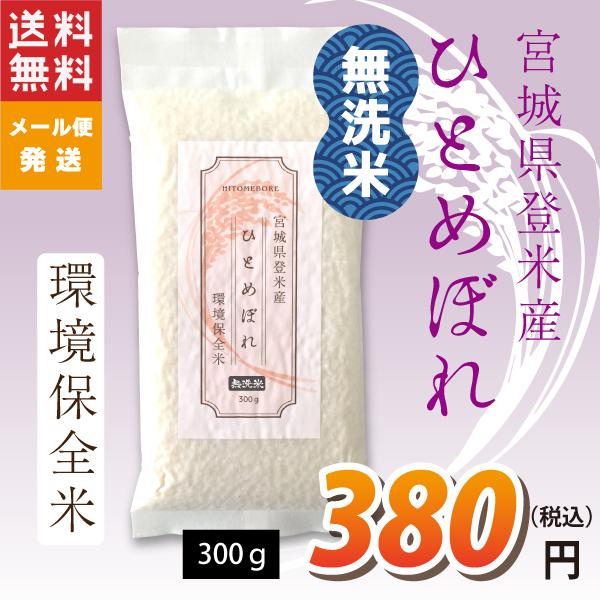 ひとめぼれ 300g 送料無料 無洗米 30年度 宮城県登米産 環境保全米 非常食 防災食 食べきりサイズ 食味鑑定士のお墨付き 真空パック