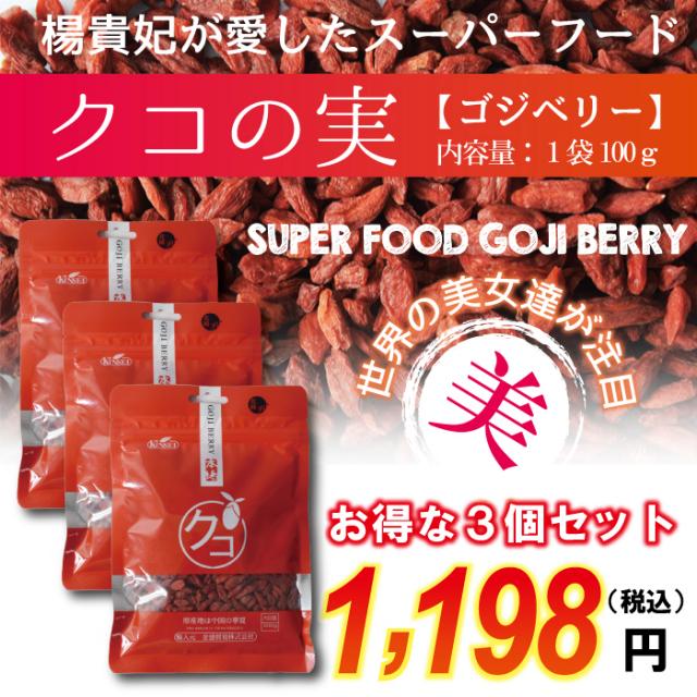 クコの実(ゴジベリー)3個セット(1袋100g×3) 無添加 楊貴妃が愛したスーパーフルーツフード!美容・健康・アンチエイジングにオススメ!