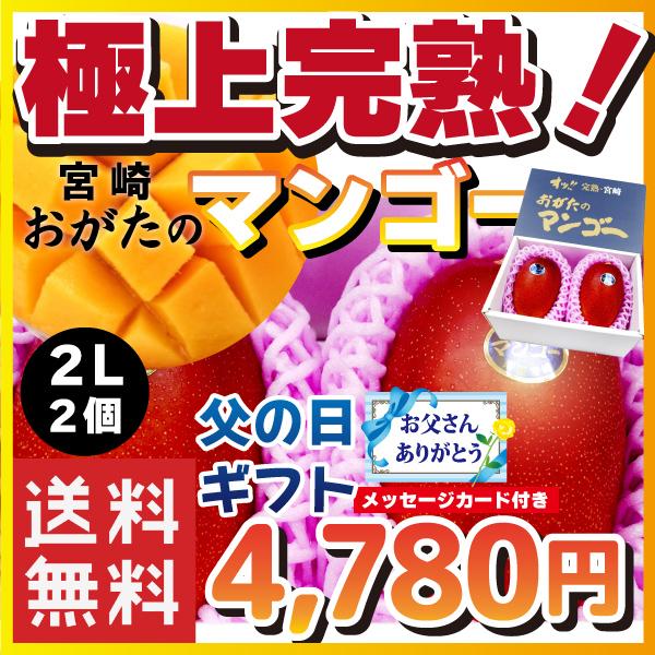 【宮崎県産】オッ!! 完熟・宮崎 おがたのマンゴー 送料無料! 贈答用 2Lサイズ2個入り 父の日ギフトメッセージカード付き
