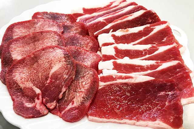 焼肉セット 牛バラ&牛タン:計300g オーストラリア産牛バラ焼肉用200g+アイルランド産牛タンスライス焼肉用100g(真空パック冷凍)