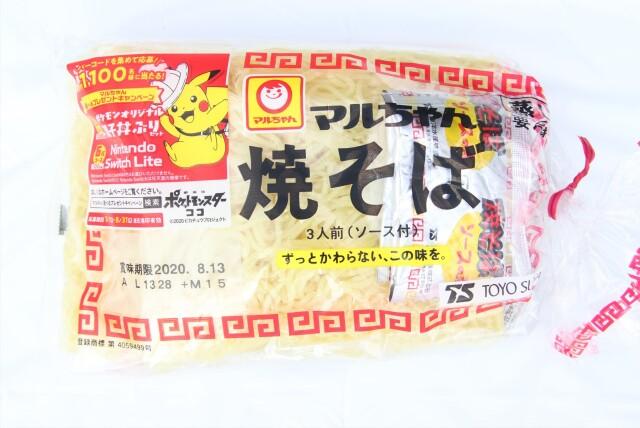 まるちゃん 焼きそば 1パック=3人前(150g×3袋)  要冷蔵 蒸してお召し上がりください。