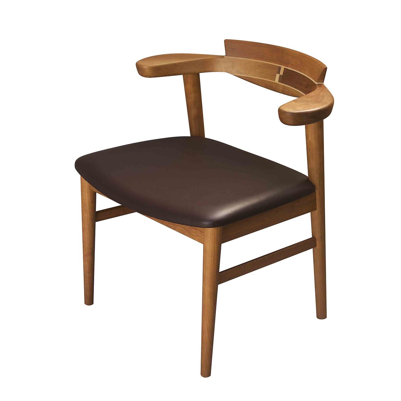 腰の椅子 Awaza チェア チェリー 座面革張  いのうえアソシエーツ