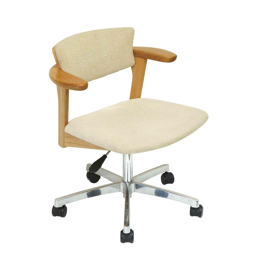 腰の椅子 Awaza LDR キャスター脚 回転椅子 オーク:ナラ 座面布張  いのうえアソシエーツ