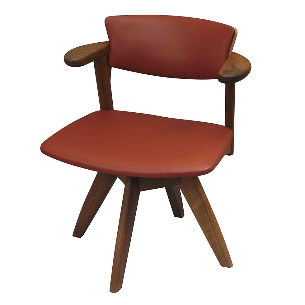 腰の椅子 Awaza LDR 回転椅子 ウォールナット 座面革張  いのうえアソシエーツ