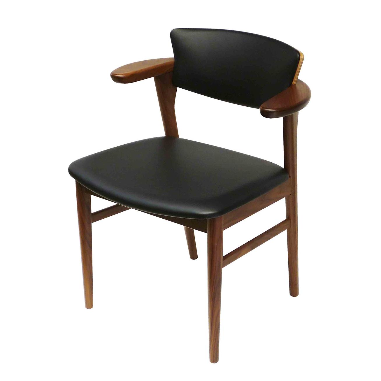 腰の椅子 Awaza LD チェア ウォールナット 座面革張 036DW-L