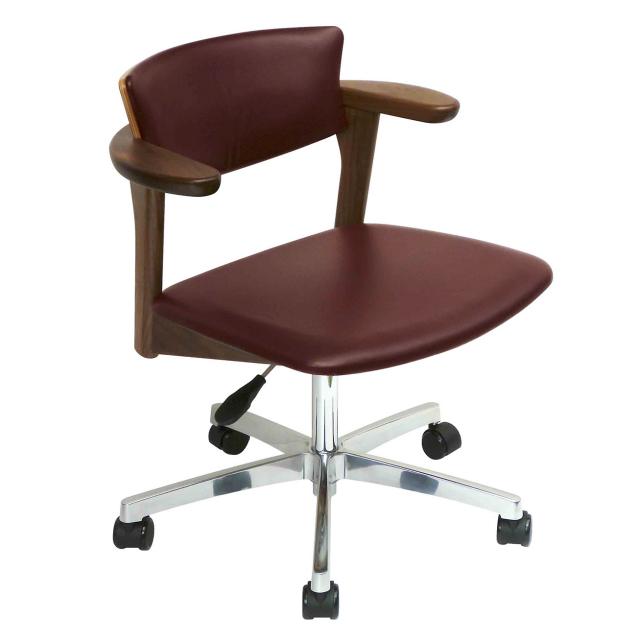 腰の椅子 Awaza LDR キャスター脚 回転椅子 ウォールナット 座面革張  いのうえアソシエーツ