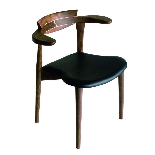 腰の椅子 Awaza2  スタッキングチェア ウォールナット 座面革張 024W-L