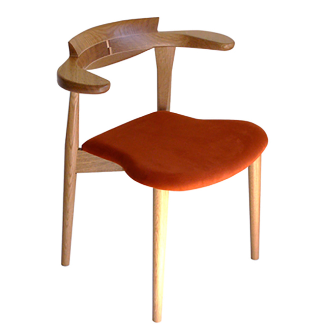腰の椅子 Awaza 2  スタッキングチェア オーク:ナラ 座面布張  いのうえアソシエーツ