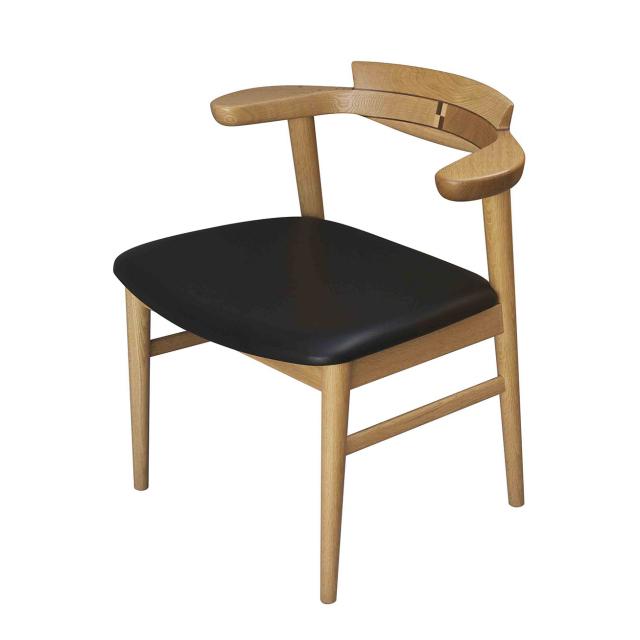 腰の椅子 Awaza1 チェア ナラ(オーク) 座面革張 0216N-L