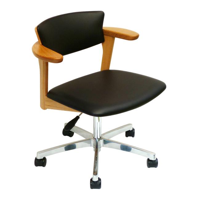 腰の椅子 Awaza LDR キャスター脚 回転椅子 オーク:ナラ 座面革張  いのうえアソシエーツ