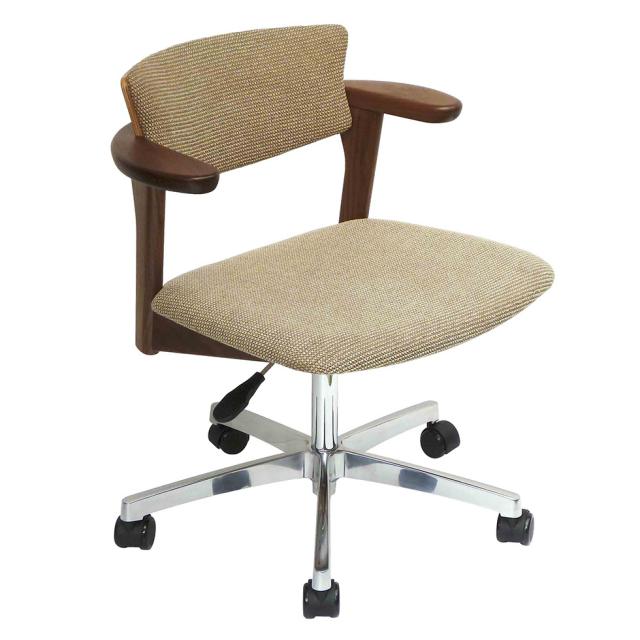 腰の椅子 Awaza LDR キャスター脚 回転椅子 ウォールナット 座面布張  いのうえアソシエーツ