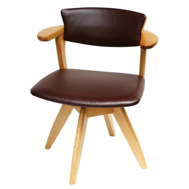 腰の椅子 Awaza LDR 回転椅子 オーク:ナラ 座面革張  いのうえアソシエーツ