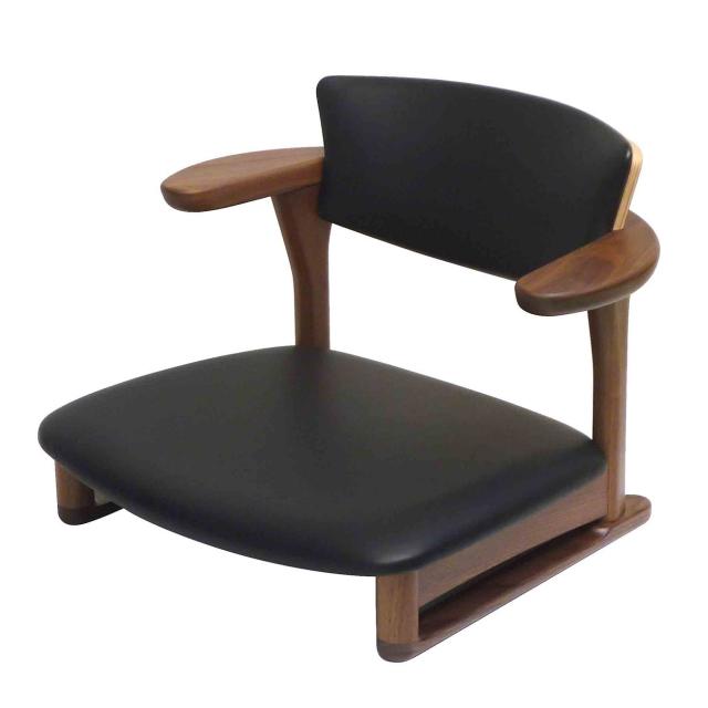 腰の椅子 Awaza LD 低座椅子 ウォールナット 座面革張  いのうえアソシエーツ