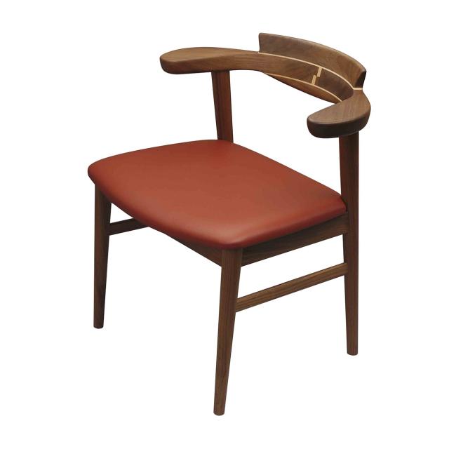 腰の椅子 Awaza1 チェア ウォールナット 座面革張 0216W-L
