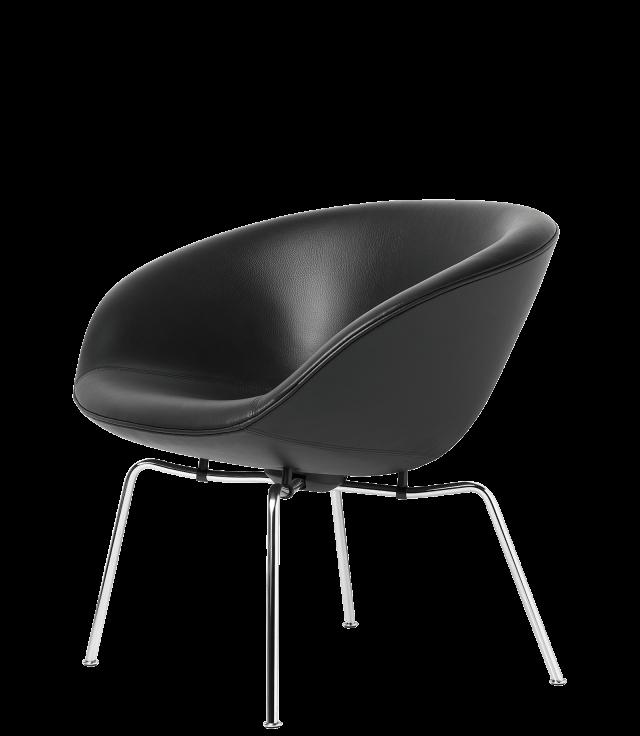 FRITZHANSEN(フリッツハンセン) pot chair(ポットチェア)3318, ラウンジチェア, レザー, クロームベース
