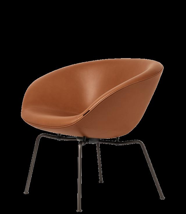 FRITZHANSEN(フリッツハンセン) pot chair(ポットチェア)3318, ラウンジチェア, レザー, 粉体塗装仕上げベース(ダークブラウン)