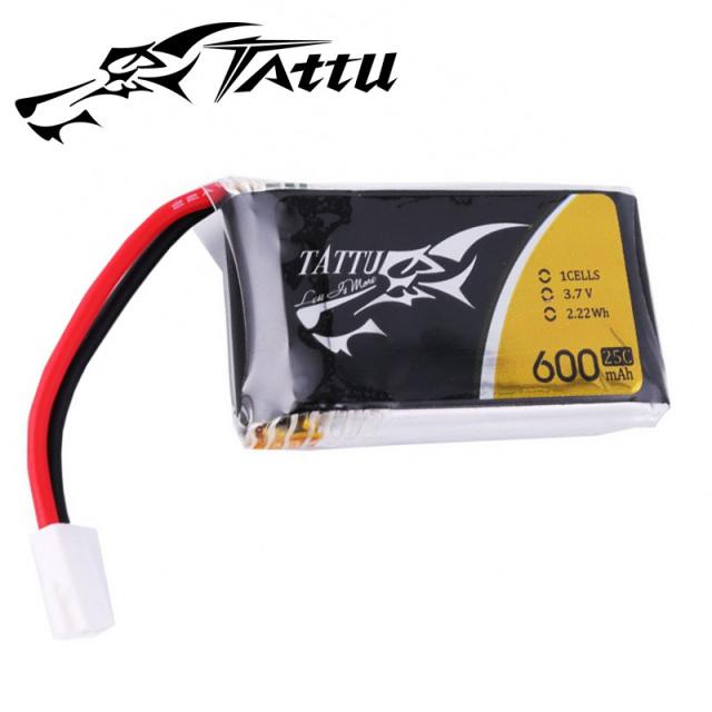 TATTU製 3.7V 600mAh 25C 1S 高性能 バッテリー  6個 セット ワルケラ NEW V120D02S、QR W100S 対応ケーブル付き  (ta-25c-600-1s1p-6pcs)|ラジコンヘリ関連商品
