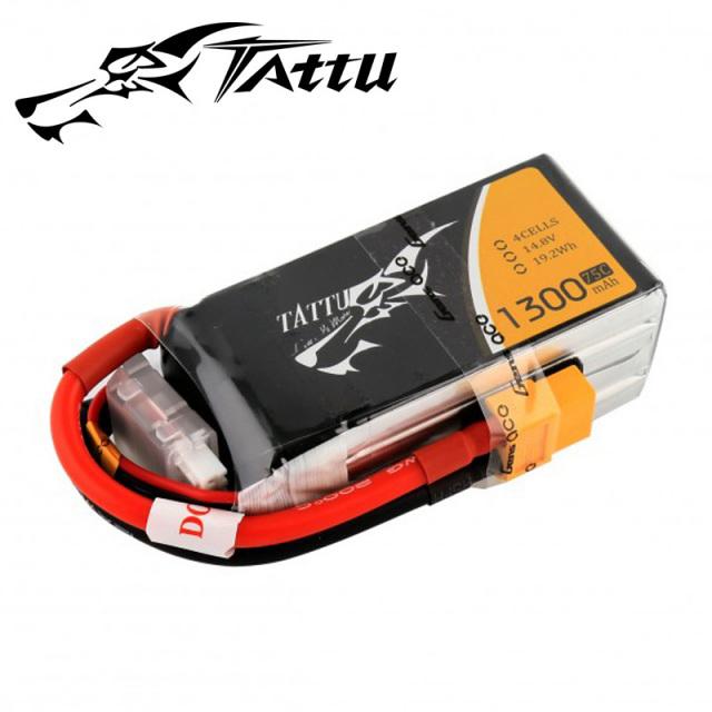 TATTU製 14.8V 1300mAh 75C 4S 高性能 バッテリー  ワルケラ F210 F2103D Furious215 DTS Q180 Q220 対応  (ta-75c-1300-4s1p-xt60)|ラジコンヘリ関連商品 ドローン