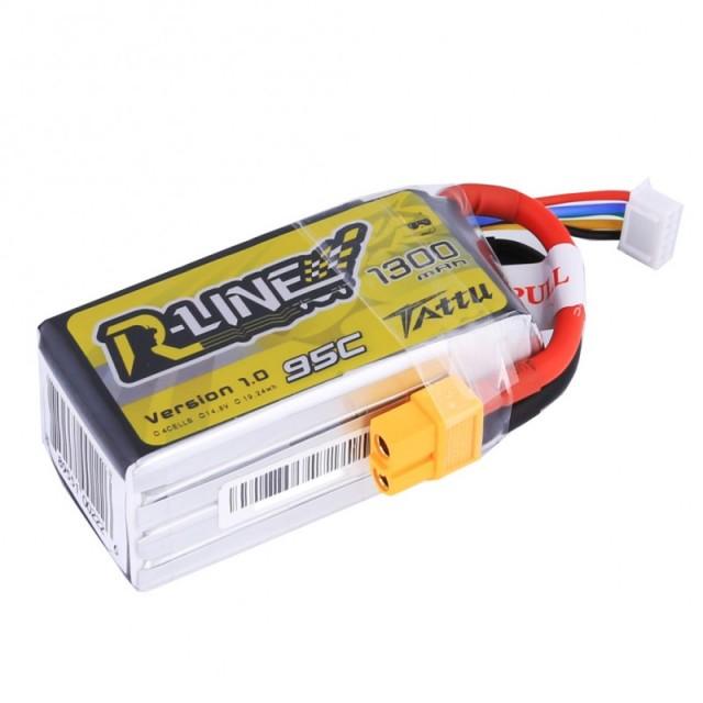 TATTU製 14.8V 1300mAh 95C 4S 高性能 バッテリー  ワルケラ F210 F2103D Furious215 DTS Q180 Q220 など対応  (ta-95c-1300-4s1p-xt60)|ラジコンヘリ関連商品 ドローン